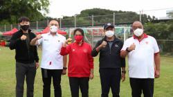 Pelatih Timnas Indonesia Shin Tae-yong, Ketua PSSI M Iriawan dan Menpora Zainudin Amali.