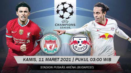 Berikut prediksi untuk pertandingan leg kedua babak 16 besar Liga Champions antara Liverpool vs RB Leipzig, Kamis (11/03/21) pukul 03.00 WIB. - INDOSPORT