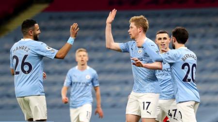 Skuat Man City merayakan gol ke gawang Southampton. - INDOSPORT