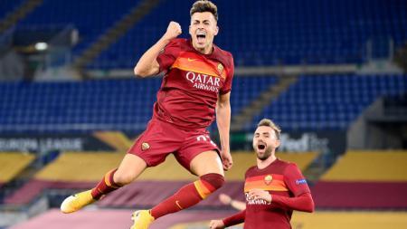 Selebrasi Stephan El Shaarawy (AS Roma) usai mencetak gol ke gawang Shakhtar Donetsk. - INDOSPORT
