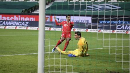 Momen Serge Gnabry menaklukan Jiri Pavlenka di laga Werder Bremen vs Bayern Munchen - INDOSPORT