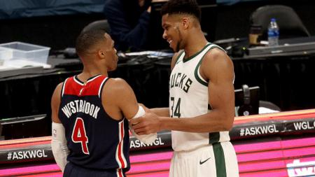 Russell Westbrook #4c(Washington Wizards dan Giannis Antetokounmpo #34 (Milwaukee Bucks). - INDOSPORT