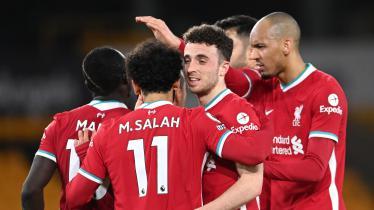 Selebrasi para pemain Liverpool ketika Diogo Jota mencetak gol ke gawang Wolverhampton Wanderers.