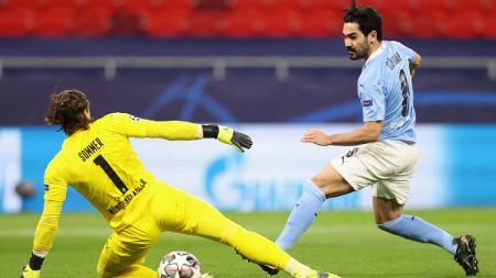 Ilkay Gundogan mencetak gol di laga Liga Champions Manchester City vs Borussia Monchengladbach. - INDOSPORT