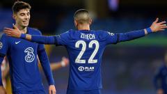 Indosport - Selebrasi gol Hakim Ziyech di laga Liga Champions Chelsea vs Atletico Madrid