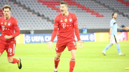 Selebrasi Robert Lewandowski di laga Bayern Munchen vs Lazio di Liga Champions - INDOSPORT