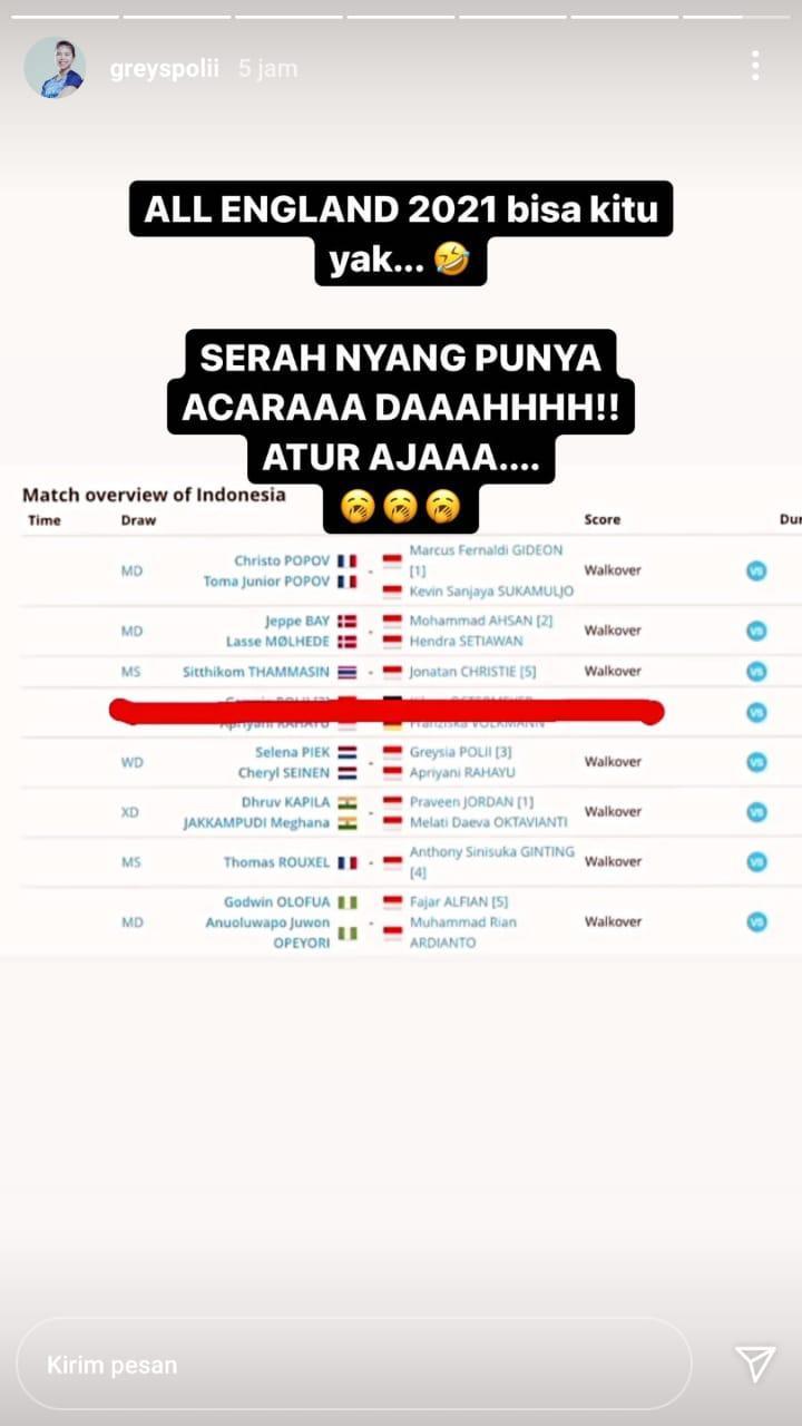 Komentar Greysia Polii usai Indonesia dipaksa mundur dari All England 2021 Copyright: Instagram/greyspolii