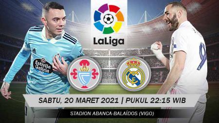 Berikut link live streaming laga lanjutan LaLiga Spanyol pekan ke-28 yang mempertemukan antara Celta Vigo vs Real Madrid. - INDOSPORT