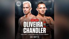 Indosport - Charles Oliveira vs Michael Chandler memperebutkan gelar juara kelas ringan di UFC 262.