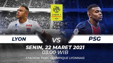 Prediksi pertandingan pekan ke-30 Ligue 1 antara dua tim papan atas Lyon vs PSG di Stadion Parc Olympique Lyonnais, Senin (21/03/21) dini hari WIB. - INDOSPORT
