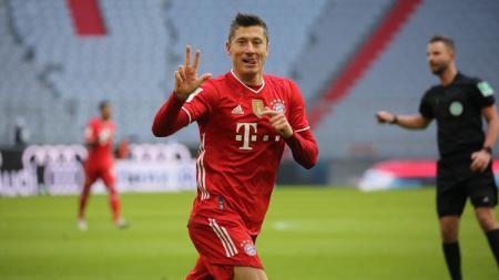 Selebrasi Robert Lewandowski di laga Bayern Munchen vs Stuttgart. - INDOSPORT