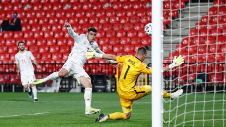 Gol Alvaro Morata di pertandingan Spanyol Vs Yunani di Kualifikasi Piala Dunia 2022. - INDOSPORT