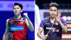 Indosport - Pebulutangkis tunggal putra Lee Zii Jia (Malaysia) dan Anthony Sinisuka Ginting (Indonesia).