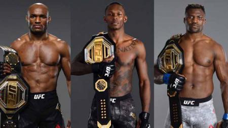 Tiga petarung asal Afrika, Kamaru Usman, Israel Adesanya dan Francis Ngannou jadi raja di ajang UFC - INDOSPORT