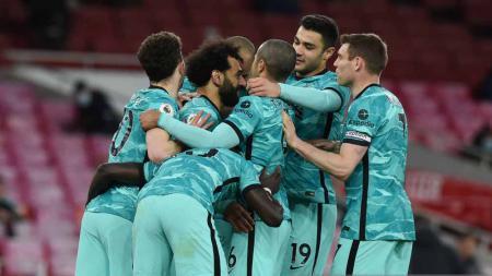 Selebrasi pemain Liverpool usai memenangkan pertandingan di Liga Primer. - INDOSPORT