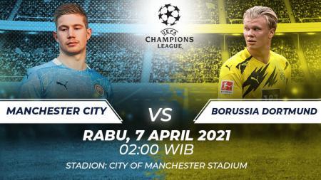 Prediksi pertandingan Liga Champions Eropa musim 2020-2021 antara Manchester City vs Borussia Dortmund. - INDOSPORT