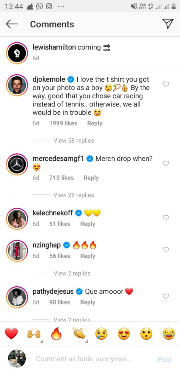 Komentar Novak Djokovic pada unggahan Lewis Hamilton mengenakan jersey tenis Copyright: Instagram Lewis Hamilton