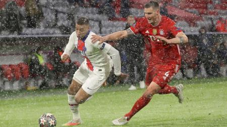 Pertandingan antara Bayern Munchen vs PSG di leg pertama perempatfinal Liga Champions 2020-2021. - INDOSPORT