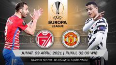 Indosport - Berikut link live streaming pertandingan leg pertama babak perempatfinal Liga Europa 2020/2021 antara Granada vs Manchester United, Jumat (09/04/21)