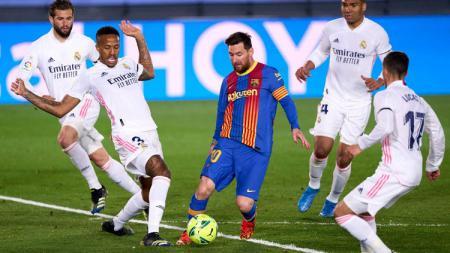 Pertandingan El Clasico antara Real Madrid vs Barcelona pada lanjutan pekan ke-30 LaLiga Spanyol 2020-2021. - INDOSPORT