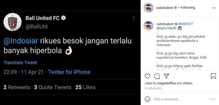 Valentino Simanjuntak merespon cuitan Twitter Bali United Copyright: instagram.com/radotvalent