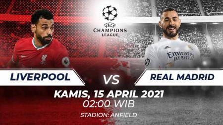 Berikut link live streaming pertandingan leg kedua babak perempatfinal Liga Champions 2020/21 antara Liverpool vs Real Madrid. - INDOSPORT
