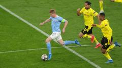 Indosport - Aksi Kevin De Bruyne di laga Dortmund vs Man City
