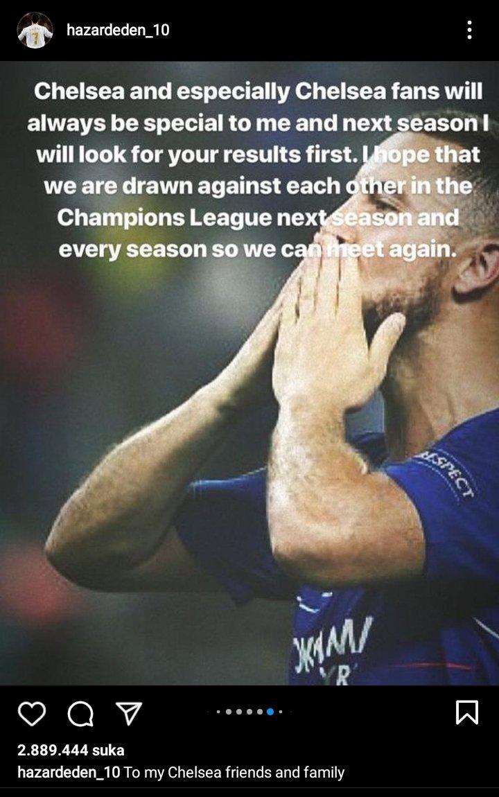 Unggahan Eden Hazard pasca meninggalkan Chelsea ke Real Madrid Copyright: instagram.com/hazardeden_10/