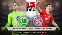 Indosport - Pertandingan Wolfsburg vs Bayern Munchen (Bundesliga).