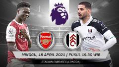 Indosport - Berikut link live streaming pertandingan pekan ke-32 Liga Inggris 2020-2021 antara Arsenal vs Fulham hari ini, Minggu (18/04/21) pukul 19.30 WIB.