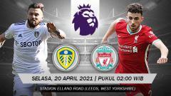 Indosport - Berikut link live streaming pertandingan pekan ke-32 Liga Inggris 2020-2021 antara Leeds United vs Liverpool hari ini, Selasa (20/04/21) pukul 02.00 WIB.