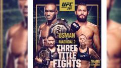Indosport - Perebutan tiga gelar juara termasuk duel antara Kamaru Usman vs Jorge Masvidal tersaji di UFC 261