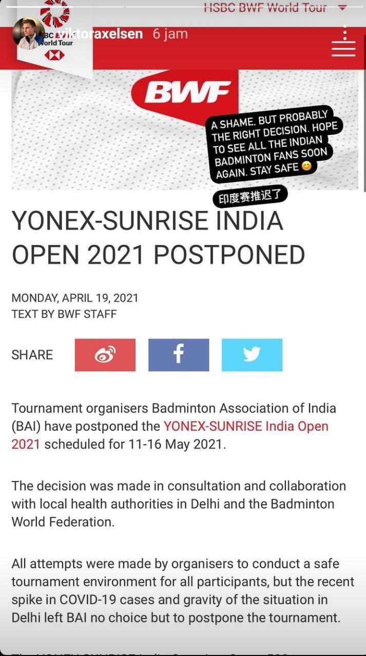 Reaksi Viktor Axelsen soal kompetisi India Open 2021 yang ditunda. Copyright: IG Story Victor Axelsen