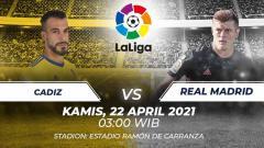 Indosport - Berikut link live streaming pertandingan lanjutan LaLiga Spanyol 2020/21 pekan ke-32 antara Cadiz vs Real Madrid.