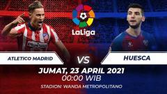Indosport - Berikut link live streaming pertandingan pekan ke-31 LaLiga Spanyol 2020-2021 antara Atletico Madrid vs Huesca, Jumat (23/04/21) pukul 00:00 dini hari WIB.