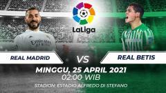 Indosport - Berikut prediksi untuk pertandingan LaLiga Spanyol antara Real Madrid vs Real Betis, Minggu (25/04/21) pukul 02.00 WIB, di Estadio Alfredo di Stefano.