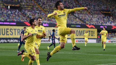 Manu Trigueros merayakan gol pembuka Villarreal atas Arsenal - INDOSPORT