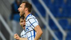 Indosport - Selebrasi Christian Eriksen di laga Crotone vs Inter Milan