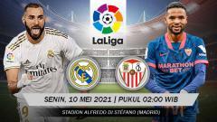 Indosport - Berikut link live streaming pertandingan lanjutan LaLiga Spanyol 2020/21 pekan ke-35 antara Real Madrid vs Sevilla.