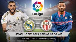 Berikut link live streaming pertandingan lanjutan LaLiga Spanyol 2020/21 pekan ke-35 antara Real Madrid vs Sevilla.