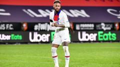 Indosport - Neymar merayakan gol PSG ke gawang Rennes dengan cara berjoget