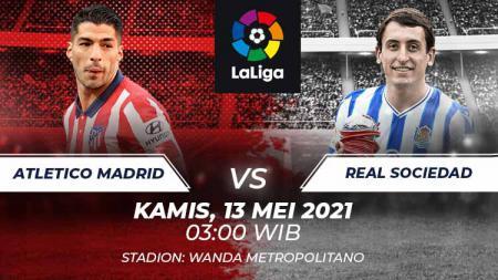 Link live streaming pertandingan lanjutan pekan ke-36 kompetisi LaLiga Spanyol musim 2020-2021 antara Atletico Madrid vs Real Sociedad. - INDOSPORT
