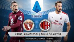 Indosport - Prediksi pertandingan Torino vs AC Milan, Kamis (13/05/21) dini hari WIB.