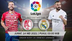 Indosport - Berikut prediksi pertandingan pekan ke-36 LaLiga Spanyol 2020/21 antara Granada vs Real Madrid, Jumat (14/05/21) pukul 03:00 dini hari WIB.