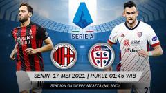 Indosport - Berikut prediksi pertandingan pekan ke-37 Serie A Liga Italia 2020/21 antara AC Milan vs Cagliari, Senin (17/05/21) pukul 01:45 dini hari WIB.