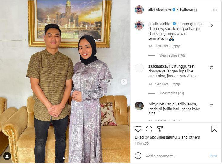 Alfath Fathier merayakan Idul Fitri bersama istri Copyright: instagram.com/alfathfaathier/