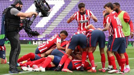 Atletico Madrid suskes menumbangkan Valladolid sekaligus memastikan gelar juara LaLiga Spanyol 2020-2021, Minggu (23/05/21) dini hari WIB. - INDOSPORT