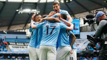 Selebrasi pemain Manchester City usai cetak gol di Liga Inggris - INDOSPORT
