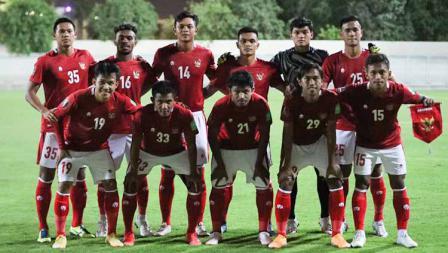 Starting eleven Timnas Indonesia saat laga uji coba menghadapi Afghanistan di Iranian Club Stadium, Dubai, Uni Emirat Arab (UEA), Selasa (25/05/21).