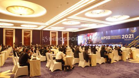 Suasana acara Kongres PSSI 2021 di Hotel Raffles, Jakarta, Sabtu (29/05/21).